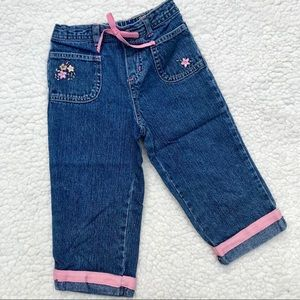 OSHKOSH Girls Flower Embroidered Denim Pants